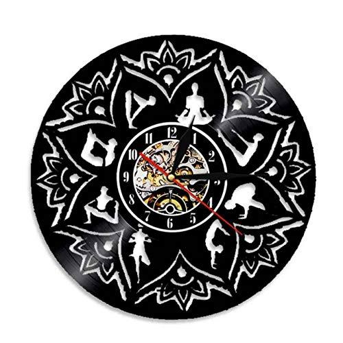 La semilla de la Vida Lotus Arte de la Pared Zen Ornamento de la Meditación Reloj de Pared de Relajación de Yoga Enfoque Decoración de la Pared Mandala Disco de Vinilo de Reloj de Pared