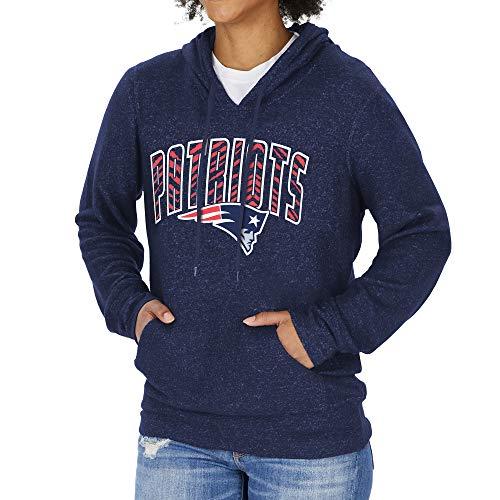 Zubaz NFL New England Patriots - Sudadera con Capucha para Mujer, diseño Vertical, Color Azul Marino, Talla XS