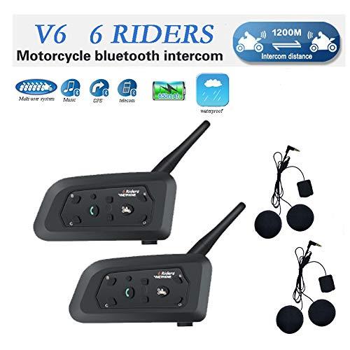 V6 Motorrad Bluetooth Helm Intercom Interphone Sprechgarnitur, Vollduplex Motorrad für drahtlose Motorräder für bis zu 6 Fahrer, UKW Radio/GPS / MP4 / 1200M(Weiches Kabel, 2 Pack)
