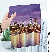 軽量版IPad ケース iPad2 ケース iPad3 ケース iPad4 ケース スタンド機能 レザー(PU) オートスリープ 傷つけ防止 2つ折タイプ iPad2/3/4世代専用スマートカバーニューヨークの絶景スカイラインマンハッタンブロードウェイオールドネイバーフッドツーリストカントリープリント