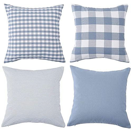 Fasyou Set di 4 federe Decorative in Cotone a Quadri quadrati a Righe per divano e Camera da letto, 45 x 45 cm, Colore: Azzurro