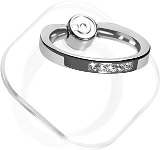 スマホ リング 透明 薄型 ホールドリング 落下防止リング スタンド機能 車載ホルダー 360回転 iPhone/Android各種他対応 (銀とダイヤモンド)