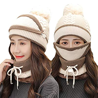 Fleece Lined Womens Beanie Knit Hat, Winter Scarf Mask Set,Girls Warm Hat Earmuffs Cap with Pom