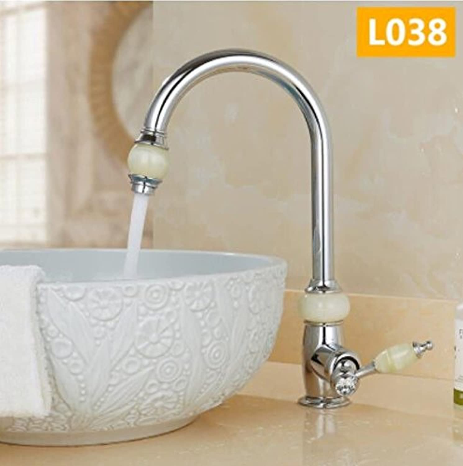 Decorry European Style Natural Jade All Copper Stand Upper Basin Cold Hot Water Faucet Kitchen Sink Can redate gold Antique Tap Ceramic Disc Spool.