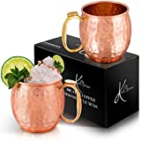 KoolBrew Moscow Mule Copper Mugs - Gift Set of 2, 100% Solid Handcrafted Copper Cups - 16 Ounce Food...
