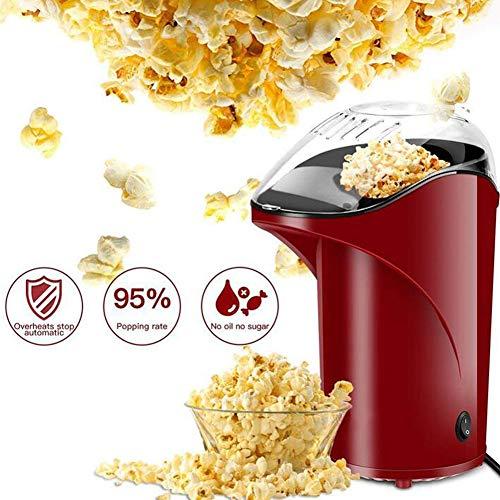 AZCSPFALB Automática Máquina de Palomitas Aire Caliente, Sin Grasa, Popcorn Maker con Capa Antiadherente, Máquina de Palomitas de Maíz Gourmet para Adultos y Niños (Rojo)