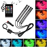 XIANKO Car Led Strip Lights, Car LED Light Interior 4pcs 48 LED DC 12V Multi-Color Music Under Dash Lighting Kit with Sound Active Function and Wireless Remote Control- Car Charger