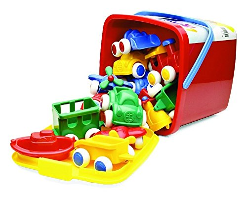 Viking Vehicles & Boats Bucket Set - 15 Piece Assortment of 4' Primary Color Cars, Trucks and Boats
