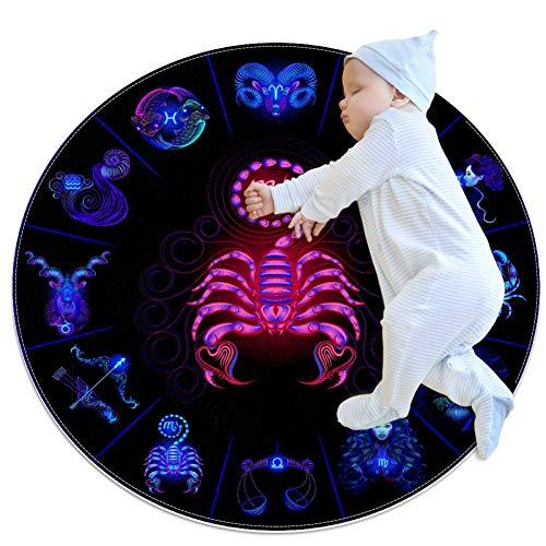 TIZORAX Zottelteppich Neon Horoskop Rund Teppich Bodenmatte für Wohnzimmer Schlafzimmer Kinderzimmer Heimdekoration, Polyester, multi, 70x70cm/27.6x27.6IN