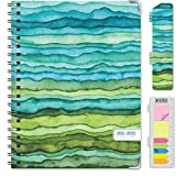HARDCOVER Academic Year 2021-2022 Planner: (June 2021 Through July 2022) 8.5'x11' Daily Weekly Monthly Planner Yearly Agenda. Bookmark, Pocket Folder and Sticky Note Set (Green Waves)
