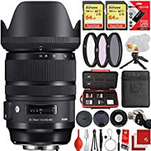 Sigma 24-70mm f/2.8 DG OS HSM Art Lens Canon EF-Mount Bundle with 2X 64GB Memory Cards, IR Remote, 3 Piece Filter Kit, Wrist Strap, Card Reader, Memory Card Case, Tabletop Tripod