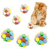 Yangfei 6Pcs Juguetes para Gatos Pelotas de Juguete para Gatos Bola de Gato, Pelotas de Peluche para Gato Pompones Coloridos para Gatos Juguete Interactivo Gato (7cm y 5cm, Multicolor)