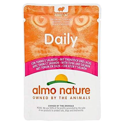 Almo Nature Daily Adult Cat - Comida húmeda sin Gluten con atún y salmón (Paquete de 30 Bolsas de 70 g)