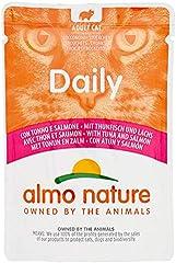 Almo Nature Comida húmeda Diaria para Gatos Adultos, sin Gluten, con atún y salmón, Paquete de 30 Bolsas de 70 g