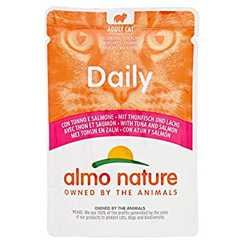 almo nature Daily Aliment Humide Complet pour Chat Adulte sans Gluten au Thon et Saumon - Lot de 30sachets de 70g