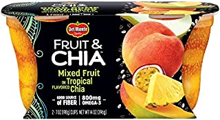 Del Monte Fruit & Chia Snack Cups, Mixed Fruit in Tropical Flavored Chia, 2 Cups, 7-Ounce