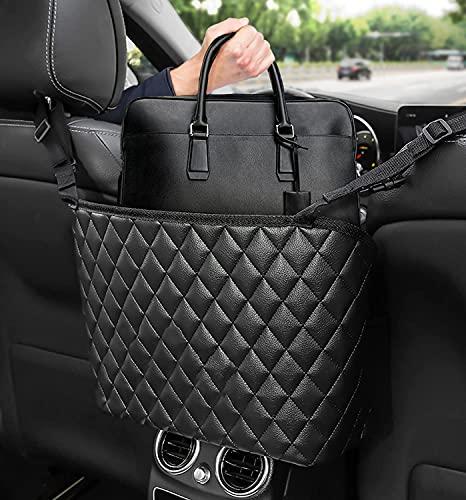 Supporto per borsa da auto, borsa tra i due sedili dell'auto, organizer per sedile posteriore per borsa, tasca e piccoli oggetti, in pelle...