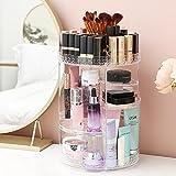 Toloryon Organizador de Maquillaje Giratorio 360°, Almacenamiento cosmético Ajustable, Exhibición Cosmético se Adapta a Joyas, Pinceles de Maquillaje, lápices labiales y cremas(Transparente) (cristal)