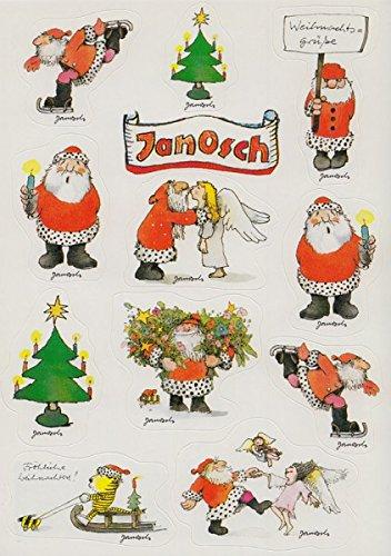 Janosch Sticker Postkarte Weihnachtsmänner Kunterbunt