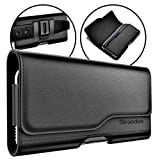 Stronden iPhone 11, iPhone XR Holster - Leather Belt Case with Belt Clip/Loop [Magnetic Closure] Premium Pouch w/Built in ID Card Holder (for Slim/Thin Case ONLY)