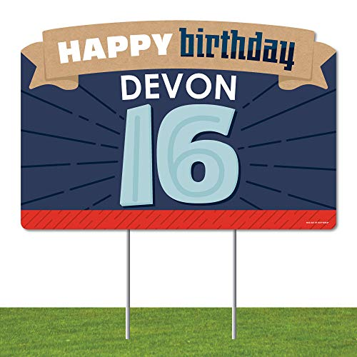 Big Dot of Happiness Personalized Boy 16th Birthday - Sweet Sixteen Birthday Party Yard Sign Lawn Decorations - Happy Birthday Custom Name Party Yardy Sign