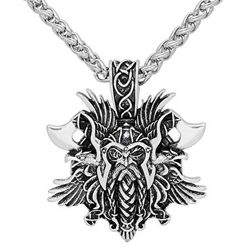 Nordic Pirat Odin Rabe Halskette-Wikinger Männer Axt Amulett Anhänger, Unisex Handgefertigten Heidnischen Schmuck, Charme Classic Valentine Hochzeitsgeschenk Zubehör