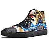 TIZORAX High Top Sneakers for Men Fashion Llama With Sunglasses Tie Bow Printing Fashion Lace up Canvas Shoes Casual Walking Shoe