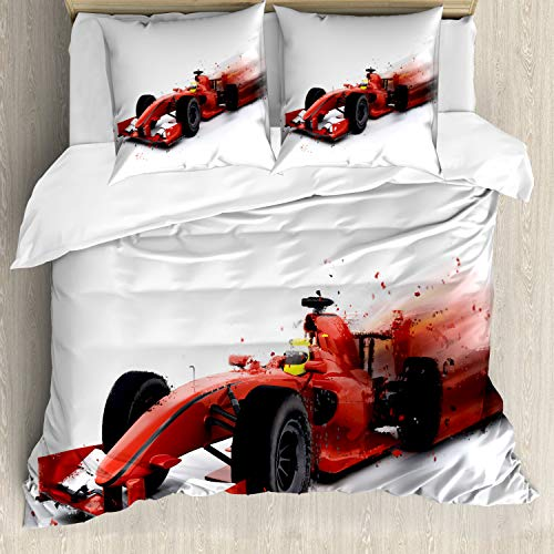 ABAKUHAUS Carros Funda Nórdica, Fórmula Diseño competir con Auto, Decorativo, 3 Piezas con 2 Funda de Almohada, 155 x 220 cm, Negro y Rojo