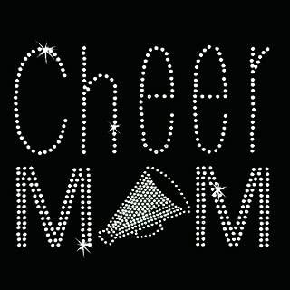 Iron on Hot Fix Rhinestone Motif Design Cheer Mom