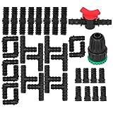 FOTABPYTI Conector de pulverización, Accesorio de riego por Goteo, 34 Piezas/Juego de te de riego, fácil instalación, diseño de púas, Accesorios de jardín para Camas de jardín elevadas,