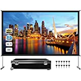 Projector Screen with Stand, Upgraded Doublesided 200 inch 4K 16:9 HD for Same-Time Both Front and Rear Projection, Protable Screen for Indoor Outdoor Theater Backyard Movie Office Presentation