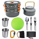 HAIK Utensilios de Cocina de Camping Kit de cocinar al Aire Libre Conjunto de Peso Ligero de Campamento de ollas y sartenes de excursión Que acampa de la Comida campestre y Cubiertos Plegables