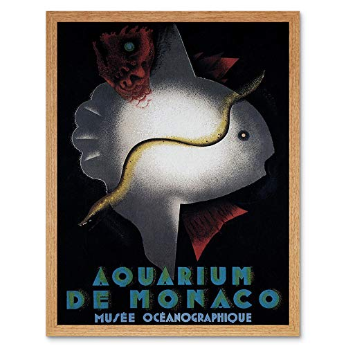 Wee Blue Coo Cultuur Museum Aquarium Fish Monaco France Vintage Advertising Art Print Framed Poster Wall Decor Kunstdruk Poster Wanddecoratie 12X16 inch