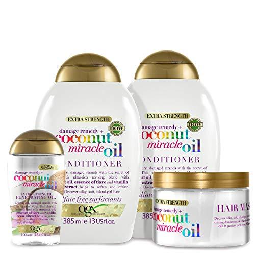 OGX Coconut Miracle Oil Set mit Shampoo, Conditioner, Haarmaske und Öl