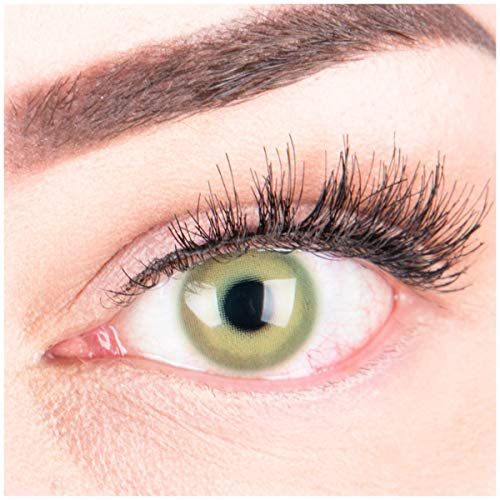 GLAMLENS Lenti a contatto colorate verdi Alice Green - mensili - con porta lenti a contatto - verde naturali in silicone idrogel - 2 pezzi - DIA 14.5 - senza correzione 0.00 diottrie lente a contatto
