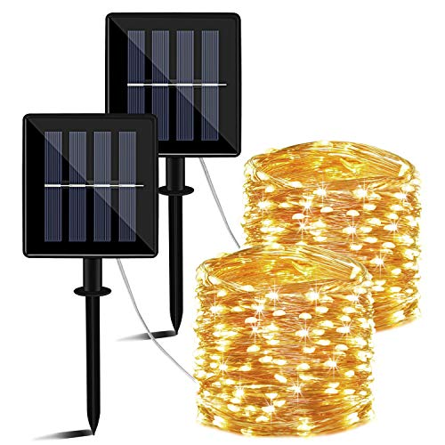 Solar LED Lichterkette Außen - 14M 140 LEDs Lichterkette aussen wasserdicht, 8 Modi, Solar Lichterkette warmweiß als Deko für Garten Balkon, Party und Weihnachten, 2 Pack