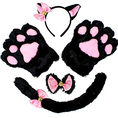 5 pcs Kitten Kitty Cat Costume Accessories Set for Adult and Child Cosplay Halloween Dress Up Pink