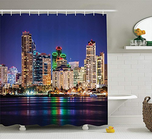 SZZWY USA Shower Curtain, Colorful Skyline of San Diego at Night North San Diego Bay Boats Architecture Urban, Cloth Fabric Bathroom Decor Set with Hooks, 72' Long, Navy