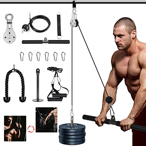 3 in 1 Pulley Cable, 2M Home Cable Pulley System, Fitness Pulley System,Gym...