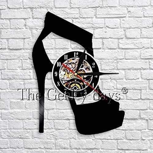 Klassieke zwarte hoge hak Wall Art Decor klok Fashion hoge hak sandalen Vinyl wandklok uniek cadeau voor haar