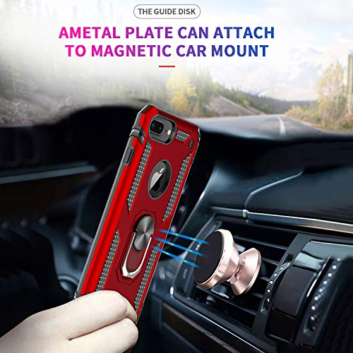 LeYi Compatible for iPhone 8 Plus Case, iPhone 7 Plus Case, iPhone 6 Plus Case with Tempered Glass Screen Protector [2Pack], Military-Grade Phone Case with Ring Kickstand for iPhone 6s Plus, Red