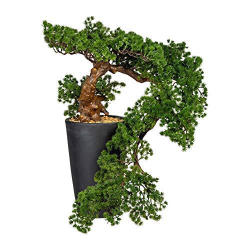 wohnfuehlidee Kunstpflanze Bonsai Lärche Han-Kengai, Farbe grün, inkl. Magnesiatopf, Höhe ca. 70 cm
