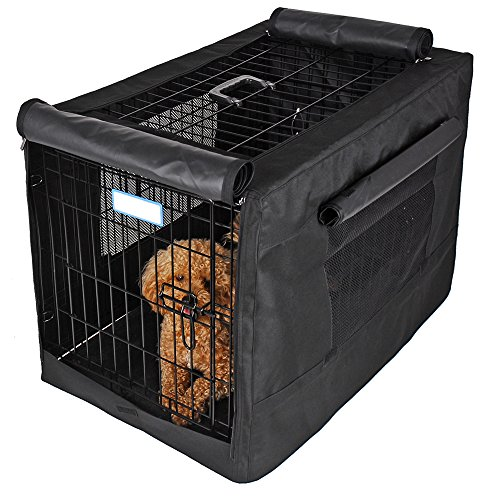 Petsfit 30' L x 19' W x 21' H Black Polyester Crate Cover, for 3000 Wire Crate,One Door
