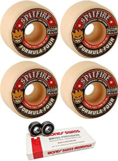 Spitfire Wheels 53mm Formula Four Conical Full White w/Red Skateboard Wheels - 101a with Bones Bearings - 8mm Bones Swiss Skateboard Bearings (8) Pack - Bundle of 2 Items
