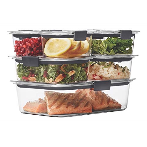 Rubbermaid 1977447 Leak-Proof Brilliance Food Storage Container, BPA-Free Plastic, 14-Piece Set, Clear