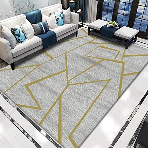Modern Area Rugs Rectangle Carpet Yellow line geometry Apply to Living Room Bedroom & Home Decoration 80x160CM (2'6''x5'2'')