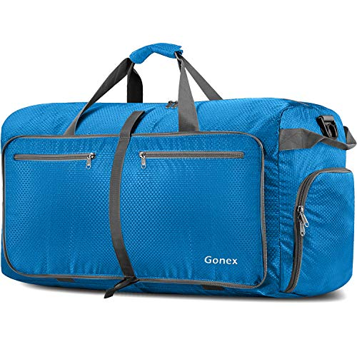 Gonex 150L Travel Duffel Bag Foldable Water Resistant Travel Bag Lightweight Duffel Bag with Big Capacity for Luggage Gym Sports Azure