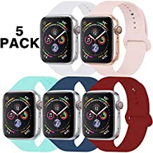 GZ GZHISY Pack 5 Sport Bands Compatible for Apple Watch Band 38mm 40mm, Soft Silicone Band Sport Strap Compatible for iWatch Series 5/4/3/2/1 (White/Pinksand/Mint/Horizon/Wine Red, S/M)