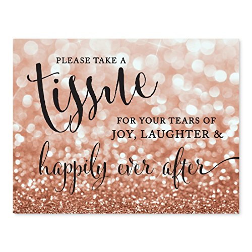 Andaz Press Wedding Party Signs, Glitzy Rose Gold Glitter, 8.5x11-inch, Please Take A Tissue for Your Tears of Joy, Laughter and Happily Ever After, 1-Pack, Bokeh Colored Party Supplies