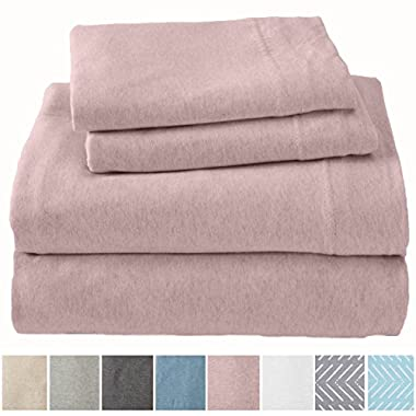 Great Bay Home Extra Soft Heather Jersey Knit (T-Shirt) Cotton Sheet Set. Soft, Comfortable, Cozy All-Season Bed Sheets. Carmen Collection By Brand. (King, Rose Quartz)